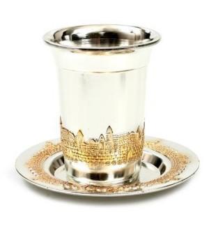 Verre de Kiddouch Jérusalem chromé argent et or