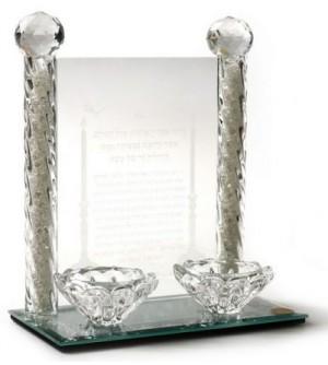 Bougeoirs en verre avec socle et bénédiction