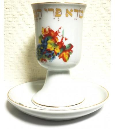 Verre de Kiddouch en porcelaine