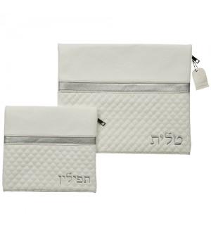 Pochettes Talit et Tefilin - simili cuir blanc