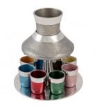Fontaine à vin - Gris avec verres couleur