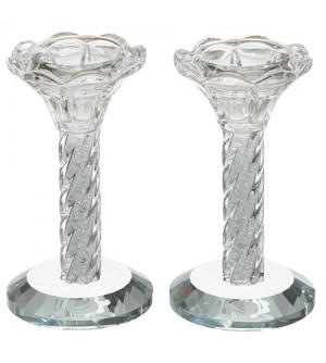 Bougeoirs en cristal avec pierres