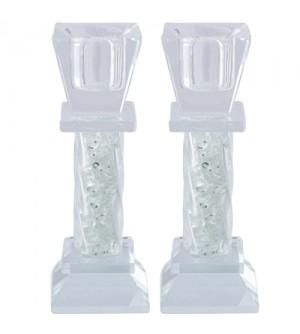 Bougeoirs en cristal avec pierres décoratives